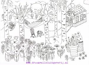 zomerkleurplaat bloemen en vlinders