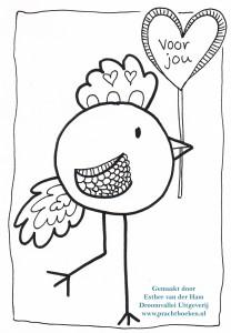 Vogel kleurplaat voor jou van Droomvallei Uitgeverij